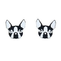 Black & White Boston Terrier Acrylic Post Earrings