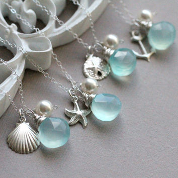 GIFT SET of FOUR Bridesmaid Necklaces, Beach Wedding, Ocean Theme, Nautical Theme, Anchor, Sea Shell, Starfish, Sand dollar, Aqua Blue