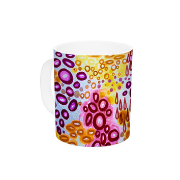 "Ebi Emporium ""Circular Persuasion Purple"" Yellow Pink Ceramic Coffee Mug"