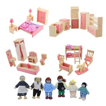 Wooden Doll Furniture Set Bathroom Bedroom Kitchen Furniture Miniature Dollhouse for Kids Children Pretend Play Educational Toy