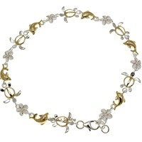 """YELLOW GOLD PLATED 2T SILVER 925 HAWAIIAN PLUMERIA TURTLE DOLPHIN ANKLET 9"""""""