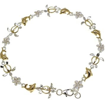YELLOW GOLD PLATED 2T SILVER 925 HAWAIIAN PLUMERIA TURTLE DOLPHIN ANKLET 9 1/2""