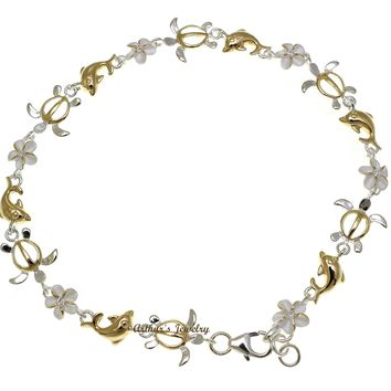 YELLOW GOLD PLATED 2T SILVER 925 HAWAIIAN PLUMERIA TURTLE DOLPHIN ANKLET 9""
