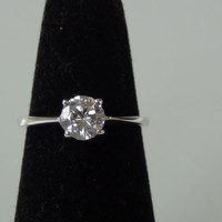 Sterling Silver 925 Cubic Zirconia Round Cut Diamond Ring