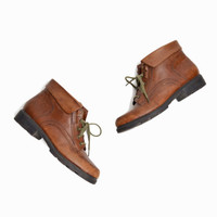 Vintage Leather Ankle Boots in Distressed Brown - women's 8.5