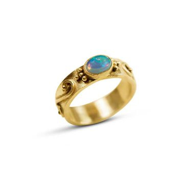 Ethiopian Opal and 22k Gold Wedding Ring
