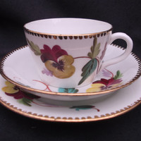 ANTIQUE Rare unmarked cup, saucer and plate (trio) hand-painted with delicate pansies c1870 - 1880