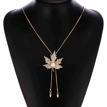 The newest Lovely Maple Leaf Long Beaded Chain Tassel Pendant Necklace Women Office Lady Imitation Pearl Jewelry Bijoux Gifts