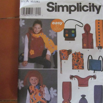 Sale Simplicity Sewing Pattern, 5285! Girls, Size XS, S, M, L, Hoodie, Vest, Hat, Scarf, Purse, Back Pack.