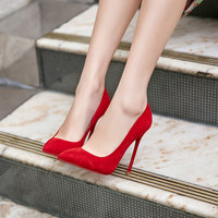 Europe 2016 12CM high with pointed fine with sexy suede shoes pumps OL professional work shoes red bottom high heels