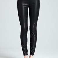 Vegan-Leather Ankle Leggings