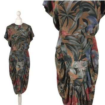 Vintage All That Jazz Dress | Tropical Print Dress | 80's Dress