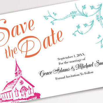 Printable Wedding Invitations - Colorful Whimsical Chapel Save The Date Postcard Template - Beautiful DIY Desing