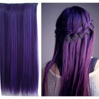 Uniwigs® Dark Purple Color Clip in Hair Extension 60cm Length Straight for Fashion Cool Women Tbe0025