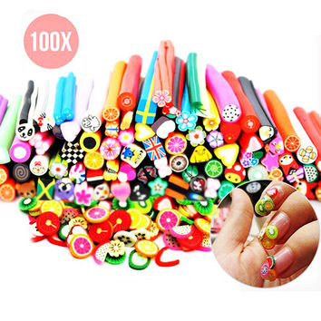 100 x Polymer Clay Nail-Art Sticks