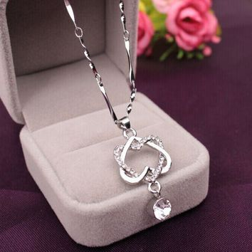 Fashion Women Double Heart Pendant Necklace Chain Jewelry