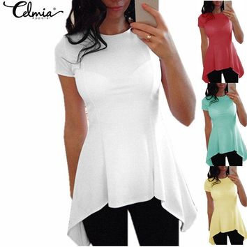 Women Peplum Waist Solid color Assymmetrical Shirt Top