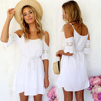 White Cold Shoulder Mini Sundress