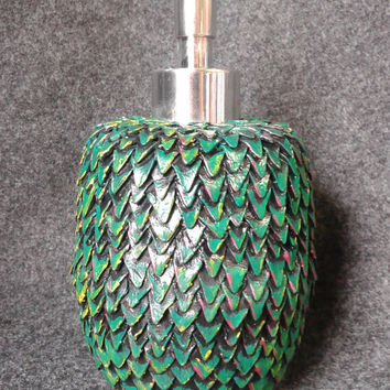 Green dragon egg soap dispenser, polymer clay sculpted scales