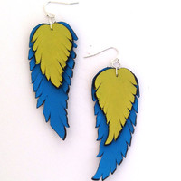 Leather earrings. Long dangle feather leather earrings. Blue and green color