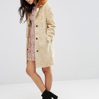 ASOS Coat in Borg with Contrast Faux Fur Collar at asos.com
