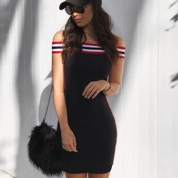 Summer Stripes Slim One Piece Dress [11828930895]