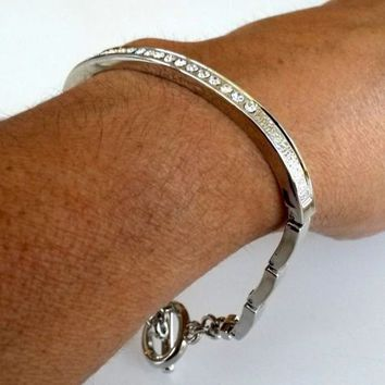 Vtg Clear Rhinestone Articulated Silver Tone Bracelet Toggle Clasp 1990s