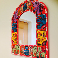 Handpainted mirror ,india nepal madhubani , handpainted indian décor , indian handicraft , home decor,indian mirror