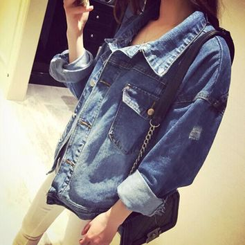 High Quality Handsome Punk Female Small Round Collar Denim Jacket Vintage Women Autumn Spring Jacket 2016 Fashion