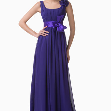 Purple Sleeveless Flower Ribbon Ruched Evening Dress