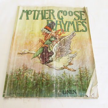 Vintage Mother Goose Rhymes Linen Book