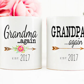 Grandparents AGAIN mug, Pregnancy Reveal Mug, Grandparents again, Baby Announcement, Grandparent Mug, Gift for Grandparents, Mug Set,