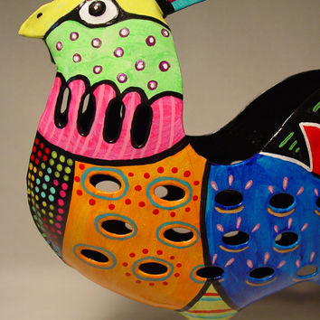 Folk Art Chicken Candle Holder Tea Light Handpainted Rooster Home Decor Colorful