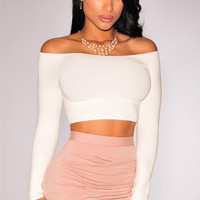 White Off-Shoulder Knit Crop Top