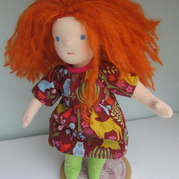 Soft fabric doll with red hair, Willow Forest dress, green stockings,  Waldorf inspired, 12 in