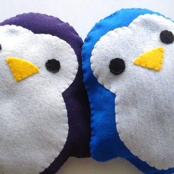 Cute Handmade and Handsewn Felt Kawaii Penguin Plush Felt Animal Pillow or Gift, Original Design, In Blue and Purple