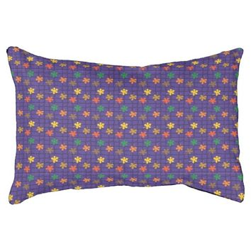 colorful leaves on purple backround dog bed