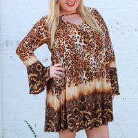 Get The Party Started Leopard Print Tunic/Dress With Neck Detail ~ Gold ~ Sizes 12-18