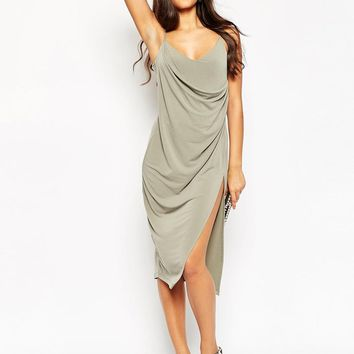 ASOS | ASOS Crepe Wrap Midi Slip Dress at ASOS
