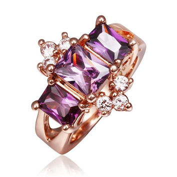 Rose Gold Plated Lavender Crown Jewel Ring
