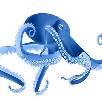 Water Baby Image, Blue Squid Cutout, Blue Octopus Image, Fish Template,Large Poster,Wall Décor, Kids Room, Nursery Room, Nursery Décor