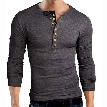 *online exclusive* men's double v neck henley long sleeve tee shirt