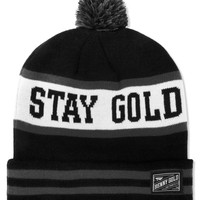 Black Stay Gold Pom Beanie