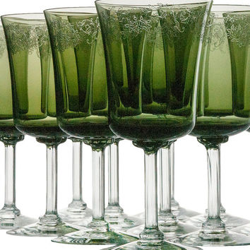 Fostoria Wine Glasses Set of 12 Cameo Green Etched Stems Stemware Holiday Dining Christmas Wedding