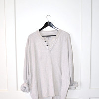 minimalist grey cotton jumper / GRUNGE pull over unisex relaxed fit waffle shirt