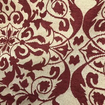 Designer Brocade Bohemian Upholstery Fabric - Red Flax- By The Yard