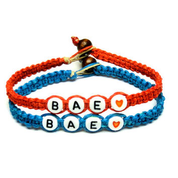 Couples Bracelet Set, Before Anyone Else, BAE, Red and Bright Blue Hemp Jewelry