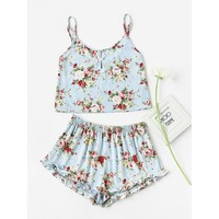 Pearl Button Front Cami & Ruffle Shorts Pajama Set