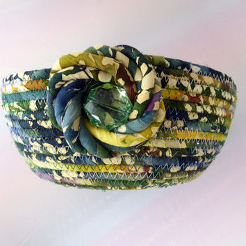 Large Coiled Rope Basket - Blue Green Fabric Basket