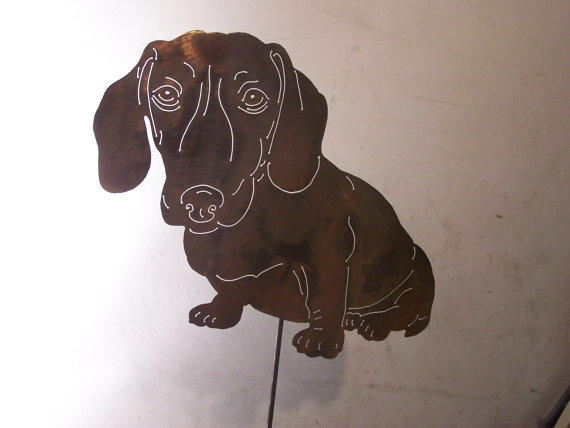 Unique dachshund metal art doxie garden from your breed in for Dog wire art
